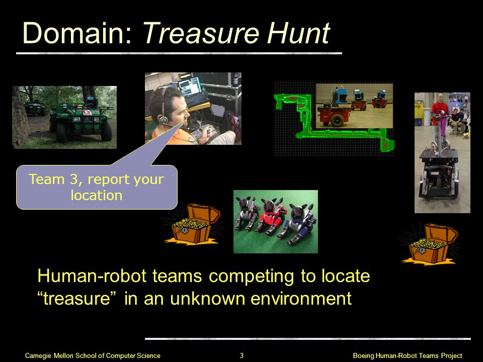 Boeing Human-Robot Teams Project 3 Carnegie Mellon School of Computer Science Domain: Treasure Hunt Human-robot teams competing to locate treasure in an unknown environment Team 3, report your location