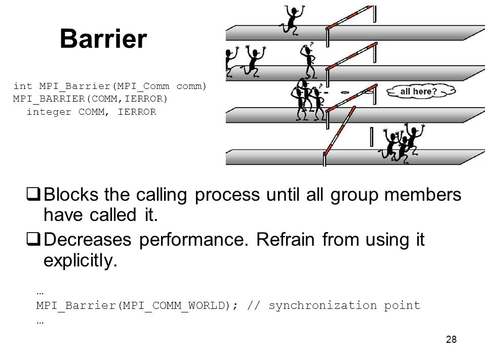 28 Barrier  Blocks the calling process until all group members have called it.