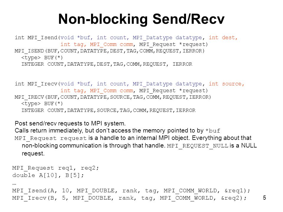5 Non-blocking Send/Recv int MPI_Isend(void *buf, int count, MPI_Datatype datatype, int dest, int tag, MPI_Comm comm, MPI_Request *request) MPI_ISEND(BUF,COUNT,DATATYPE,DEST,TAG,COMM,REQUEST,IERROR) BUF(*) INTEGER COUNT,DATATYPE,DEST,TAG,COMM,REQUEST, IERROR int MPI_Irecv(void *buf, int count, MPI_Datatype datatype, int source, int tag, MPI_Comm comm, MPI_Request *request) MPI_IRECV(BUF,COUNT,DATATYPE,SOURCE,TAG,COMM,REQUEST,IERROR) BUF(*) INTEGER COUNT,DATATYPE,SOURCE,TAG,COMM,REQUEST,IERROR Post send/recv requests to MPI system.