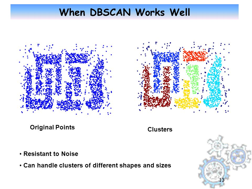 13 When DBSCAN Works Well Original Points Clusters Resistant to Noise Can handle clusters of different shapes and sizes