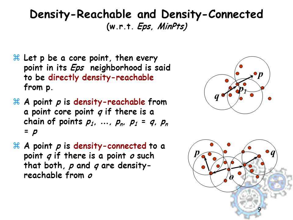 9 Density-Reachable and Density-Connected (w.r.t.