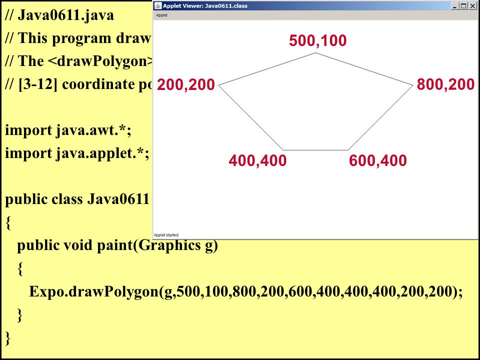 // Java0611.java // This program draws a pentagon with the method.