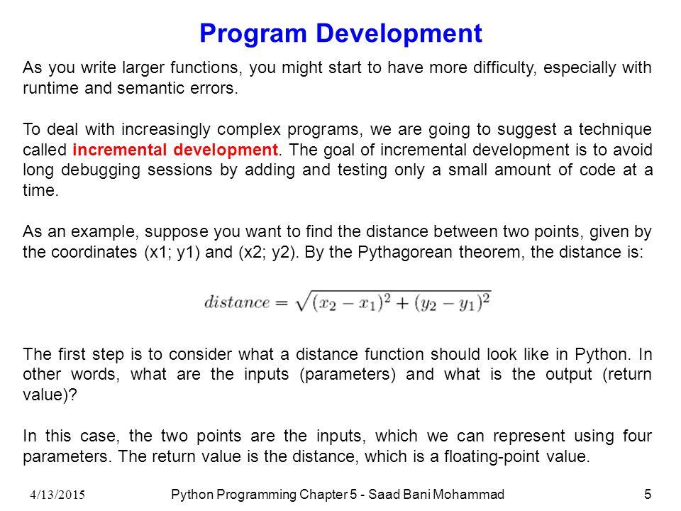 Python Programming Chapter 5: Fruitful Functions Saad Bani Mohammad