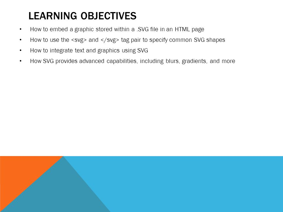 CHAPTER 20 CREATING SVG GRAPHICS  LEARNING OBJECTIVES How to embed a