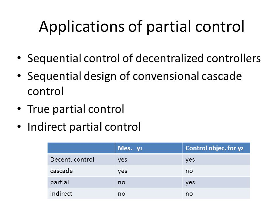 Applications of partial control Sequential control of decentralized controllers Sequential design of convensional cascade control True partial control Indirect partial control Mes.