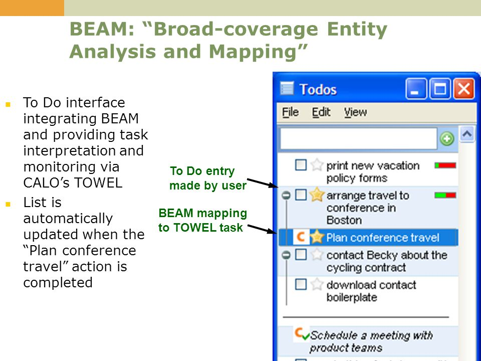 6 BEAM: Broad-coverage Entity Analysis and Mapping To Do interface integrating BEAM and providing task interpretation and monitoring via CALO's TOWEL List is automatically updated when the Plan conference travel action is completed To Do entry made by user BEAM mapping to TOWEL task