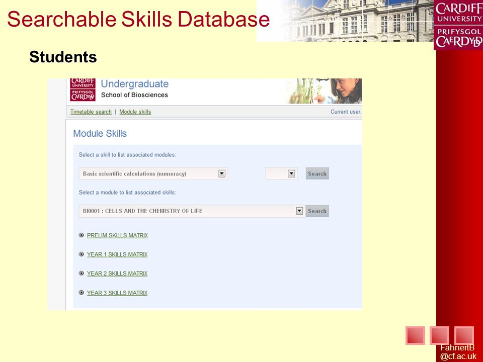 Searchable Skills Database Students