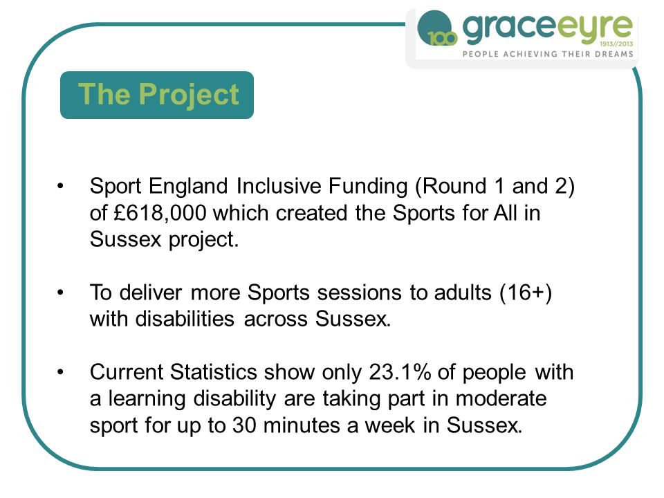 The Project Sport England Inclusive Funding (Round 1 and 2) of £618,000 which created the Sports for All in Sussex project.