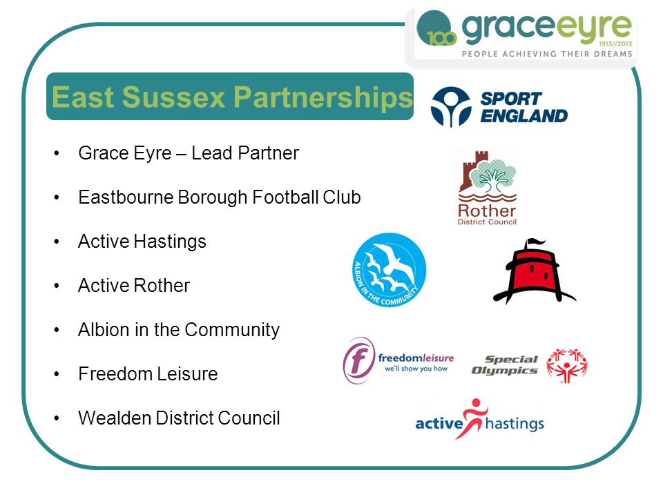 Grace Eyre – Lead Partner Eastbourne Borough Football Club Active Hastings Active Rother Albion in the Community Freedom Leisure Wealden District Council East Sussex Partnerships