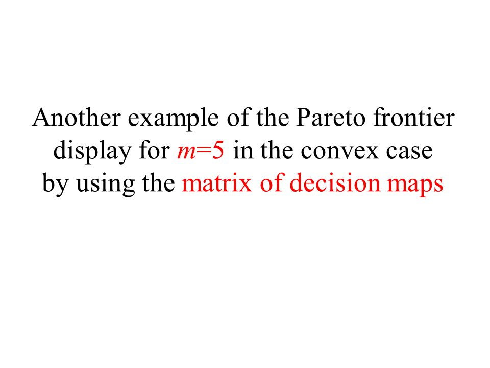 Another example of the Pareto frontier display for m=5 in the convex case by using the matrix of decision maps