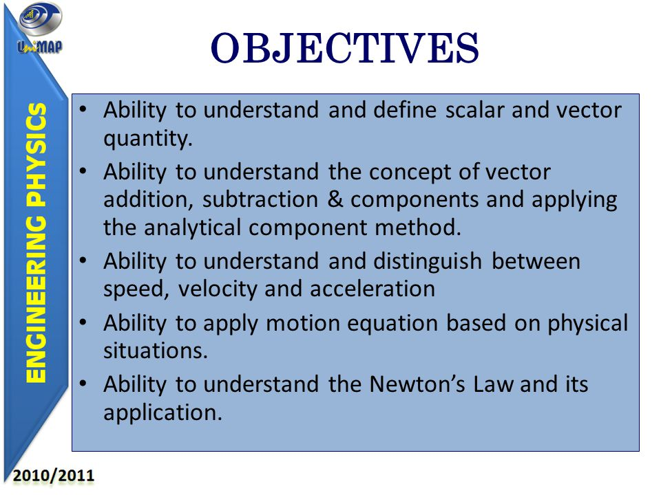 OBJECTIVES Ability to understand and define scalar and vector quantity.