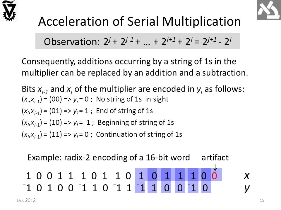 Acceleration of Serial Multiplication Observation: 2 j + 2 j-1 + … + 2 i+1 + 2 i = 2 j+1 - 2 i Consequently, additions occurring by a string of 1s in the multiplier can be replaced by an addition and a subtraction.