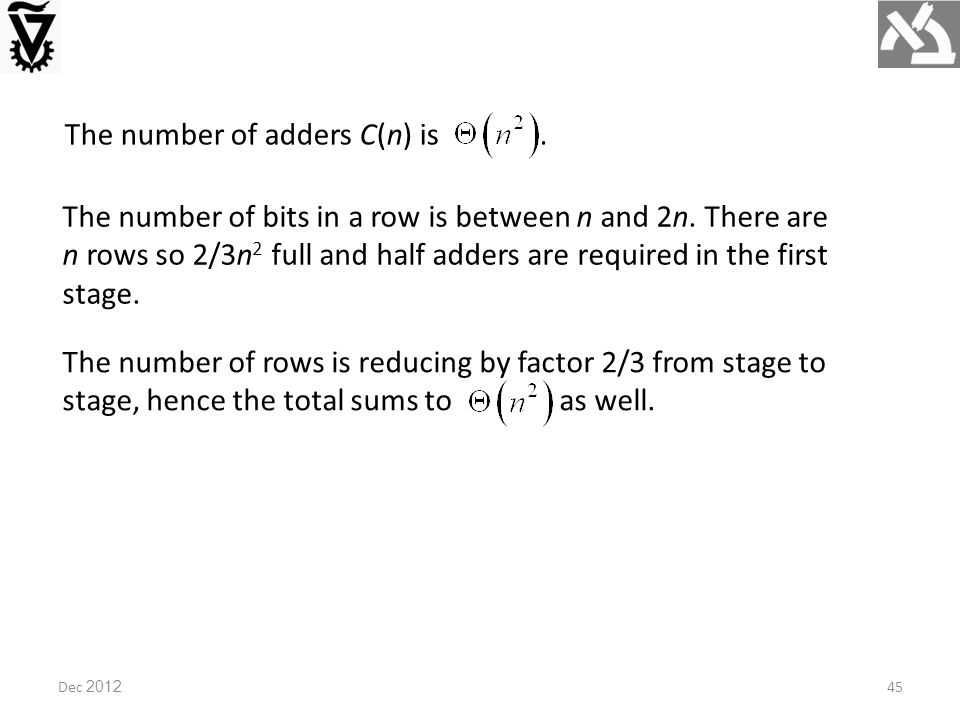 Dec 2012 The number of adders C(n) is. The number of bits in a row is between n and 2n.