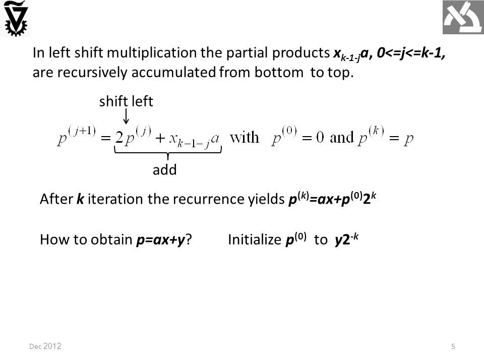 In left shift multiplication the partial products x k-1-j a, 0<=j<=k-1, are recursively accumulated from bottom to top.