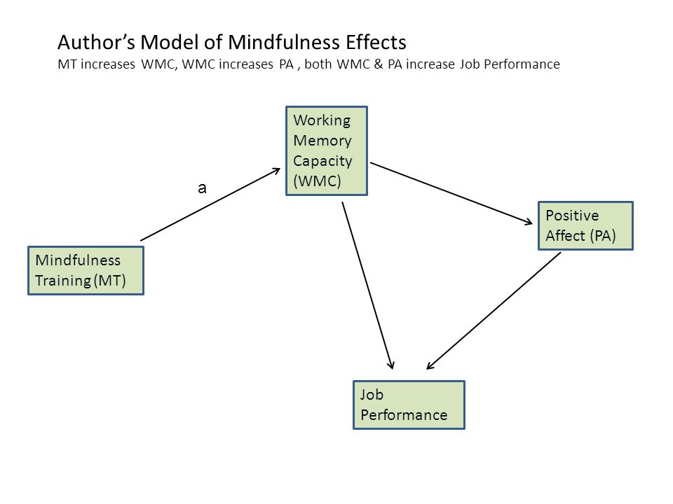 Author's Model of Mindfulness Effects MT increases WMC, WMC increases PA, both WMC & PA increase Job Performance Mindfulness Training (MT) Working Memory Capacity (WMC) Positive Affect (PA) Job Performance a