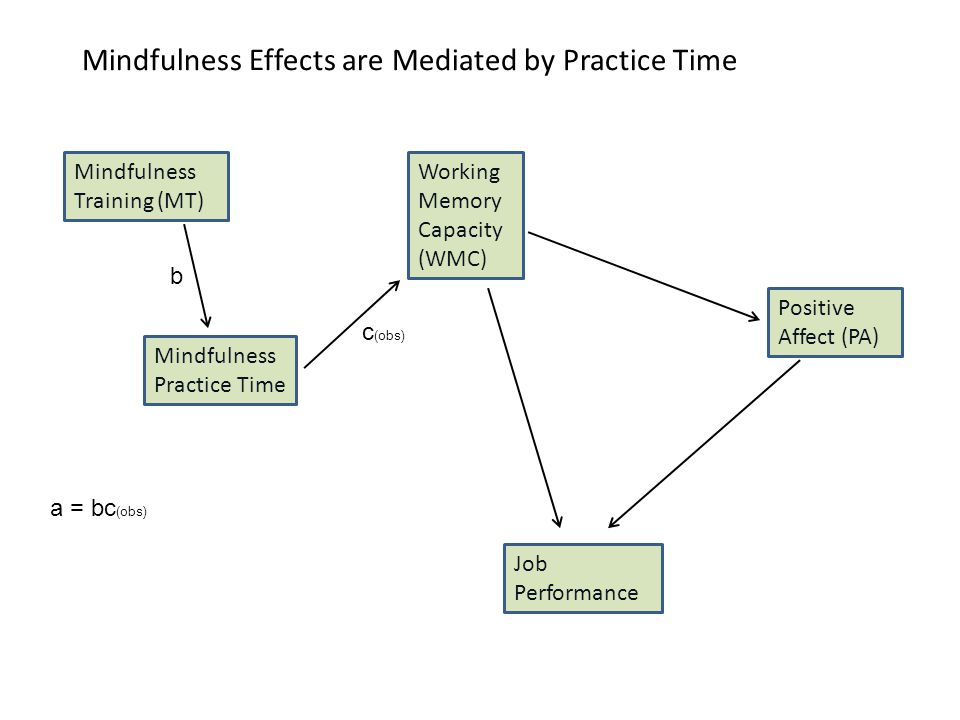 Mindfulness Effects are Mediated by Practice Time Mindfulness Training (MT) Working Memory Capacity (WMC) Positive Affect (PA) Job Performance Mindfulness Practice Time b c (obs) a = bc (obs)