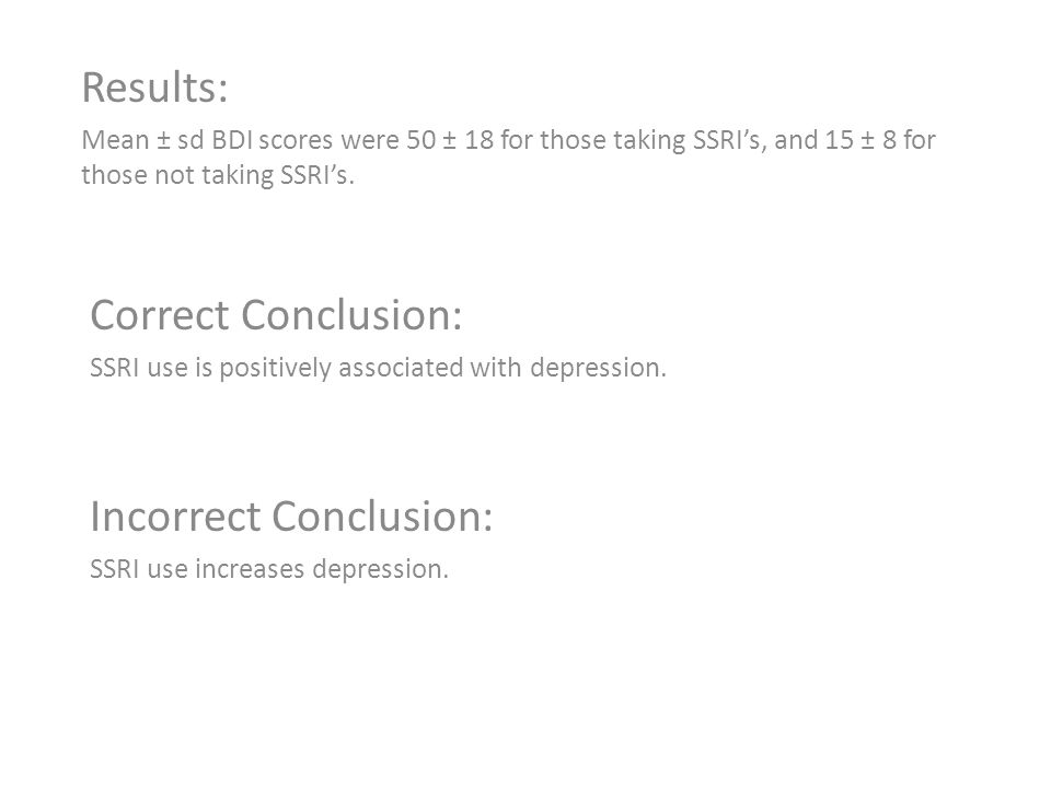 Results: Mean ± sd BDI scores were 50 ± 18 for those taking SSRI's, and 15 ± 8 for those not taking SSRI's.