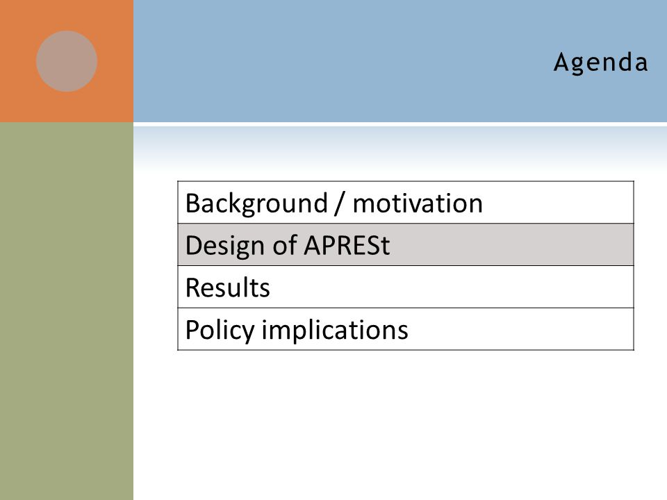 Background / motivation Design of APRESt Results Policy implications Agenda