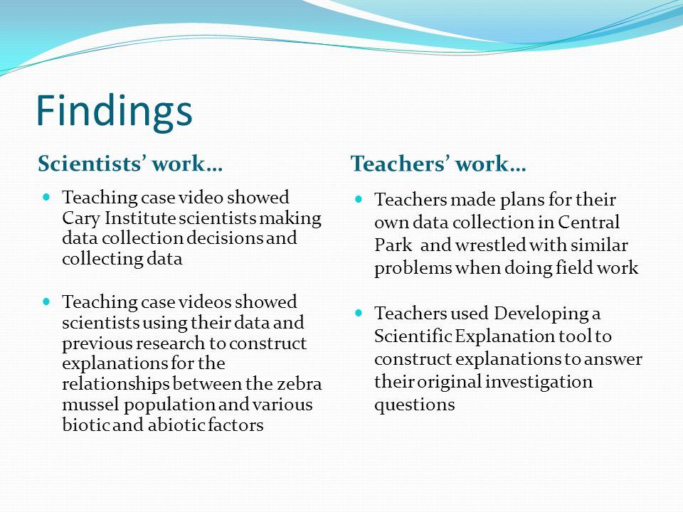 Findings Scientists' work… Teaching case video showed Cary Institute scientists making data collection decisions and collecting data Teaching case videos showed scientists using their data and previous research to construct explanations for the relationships between the zebra mussel population and various biotic and abiotic factors Teachers' work… Teachers made plans for their own data collection in Central Park and wrestled with similar problems when doing field work Teachers used Developing a Scientific Explanation tool to construct explanations to answer their original investigation questions