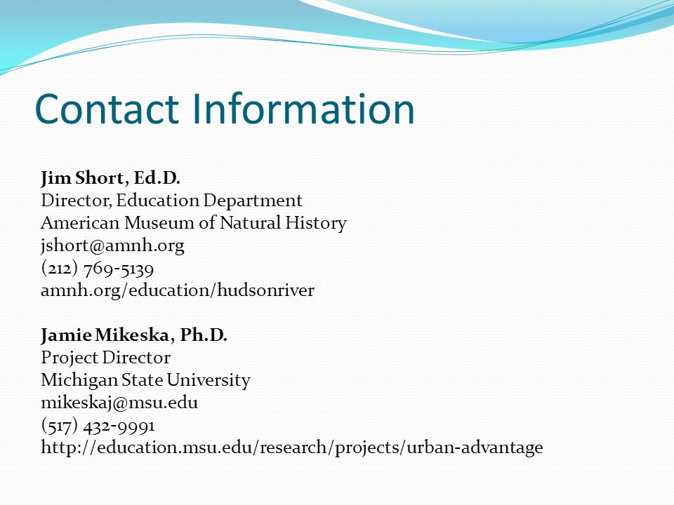 Contact Information Jim Short, Ed.D.