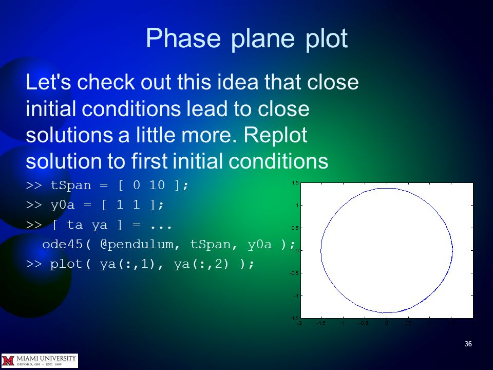 Phase plane plot 35 From phase-plane plot it appears reasonable to say that if the initial conditions of the solutions of a differential equation are close to each other, the solutions are also close to each other.