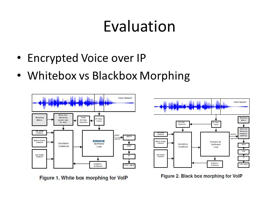 Evaluation Encrypted Voice over IP Whitebox vs Blackbox Morphing
