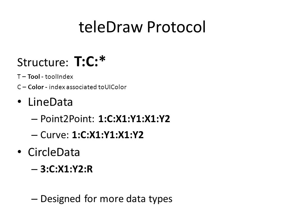 teleDraw Protocol Structure: T:C:* T – Tool - toolIndex C – Color - index associated toUIColor LineData – Point2Point: 1:C:X1:Y1:X1:Y2 – Curve: 1:C:X1:Y1:X1:Y2 CircleData – 3:C:X1:Y2:R – Designed for more data types