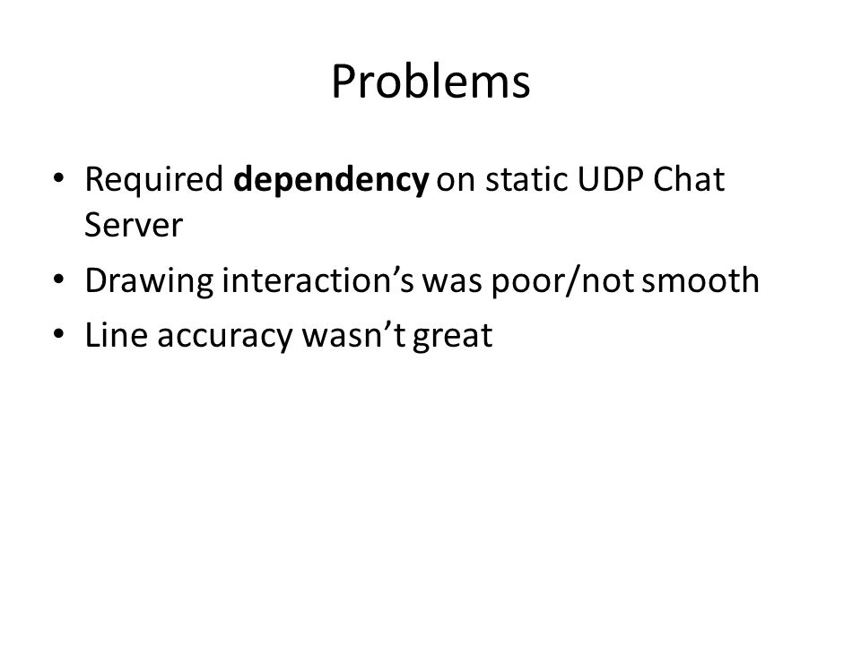 Problems Required dependency on static UDP Chat Server Drawing interaction's was poor/not smooth Line accuracy wasn't great