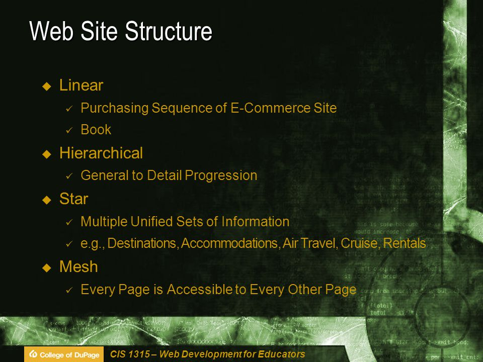 CIS 1315 – Web Development for Educators Web Site Structure  Linear Purchasing Sequence of E-Commerce Site Book  Hierarchical General to Detail Progression  Star Multiple Unified Sets of Information e.g., Destinations, Accommodations, Air Travel, Cruise, Rentals  Mesh Every Page is Accessible to Every Other Page