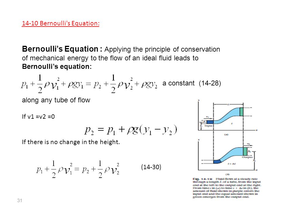 Bernoulli s Equation: Bernoulli's Equation : Applying the principle of conservation of mechanical energy to the flow of an ideal fluid leads to Bernoulli's equation: a constant (14-28) along any tube of flow If v1 =v2 =0 If there is no change in the height.