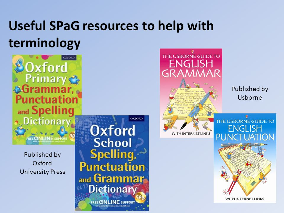 Useful SPaG resources to help with terminology Published by Oxford University Press Published by Usborne
