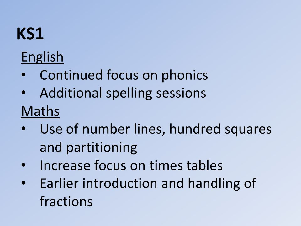 KS1 English Continued focus on phonics Additional spelling sessions Maths Use of number lines, hundred squares and partitioning Increase focus on times tables Earlier introduction and handling of fractions