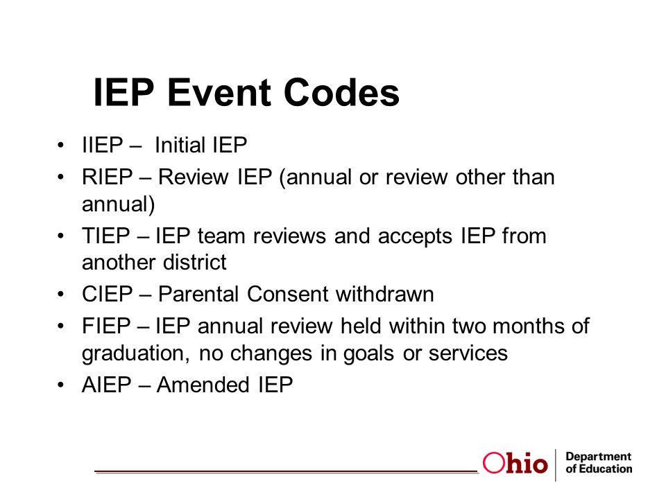 IEP Event Codes IIEP – Initial IEP RIEP – Review IEP (annual or review other than annual) TIEP – IEP team reviews and accepts IEP from another district CIEP – Parental Consent withdrawn FIEP – IEP annual review held within two months of graduation, no changes in goals or services AIEP – Amended IEP