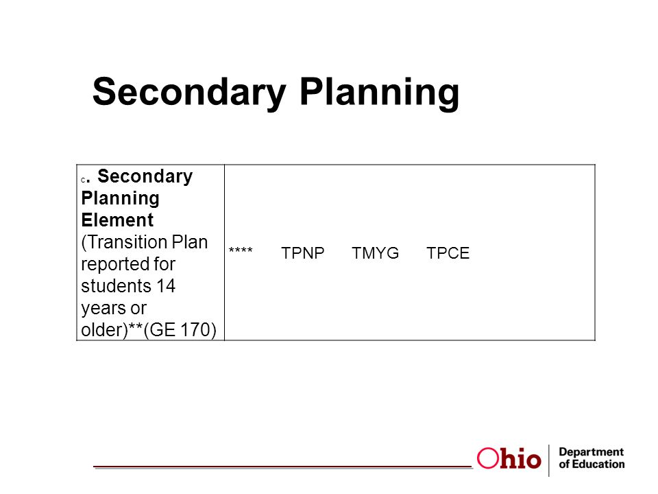 Secondary Planning C.Secondary Planning Element (Transition Plan reported for students 14 years or older)**(GE 170) **** TPNP TMYG TPCE