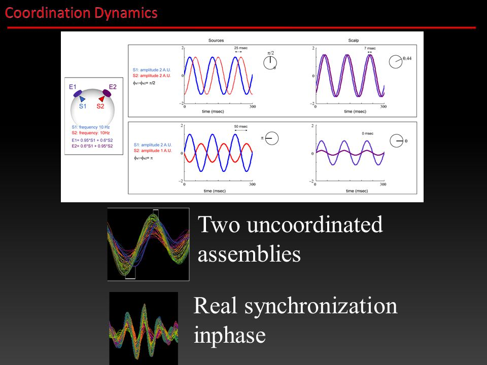 Two uncoordinated assemblies Real synchronization inphase