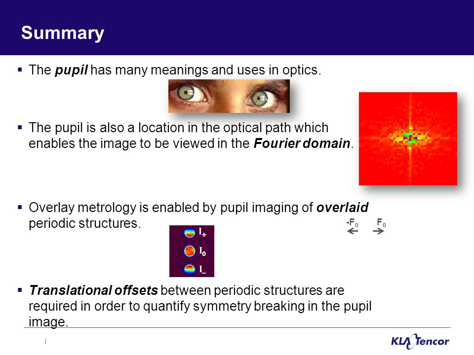 Summary  The pupil has many meanings and uses in optics.