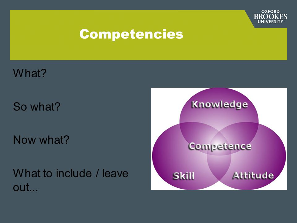 Competencies What So what Now what What to include / leave out...