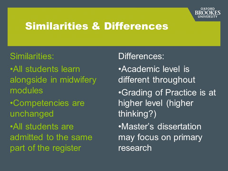 Similarities & Differences Similarities: All students learn alongside in midwifery modules Competencies are unchanged All students are admitted to the same part of the register Differences: Academic level is different throughout Grading of Practice is at higher level (higher thinking ) Master's dissertation may focus on primary research