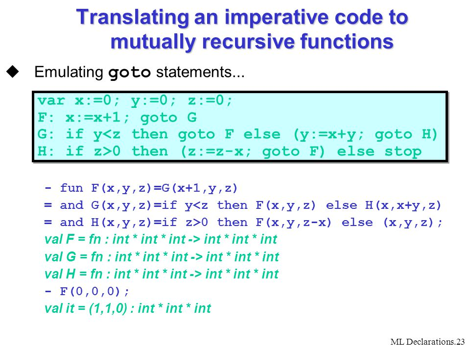 ML Declarations.23 Translating an imperative code to mutually recursive functions  Emulating goto statements...