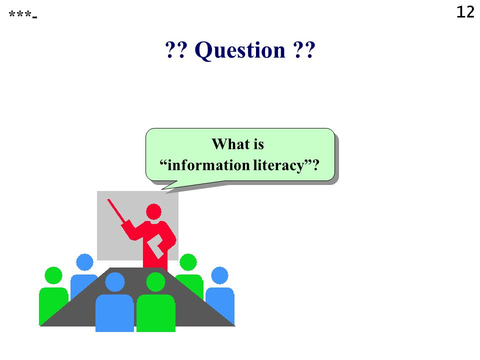 Question What is information literacy ***- 12