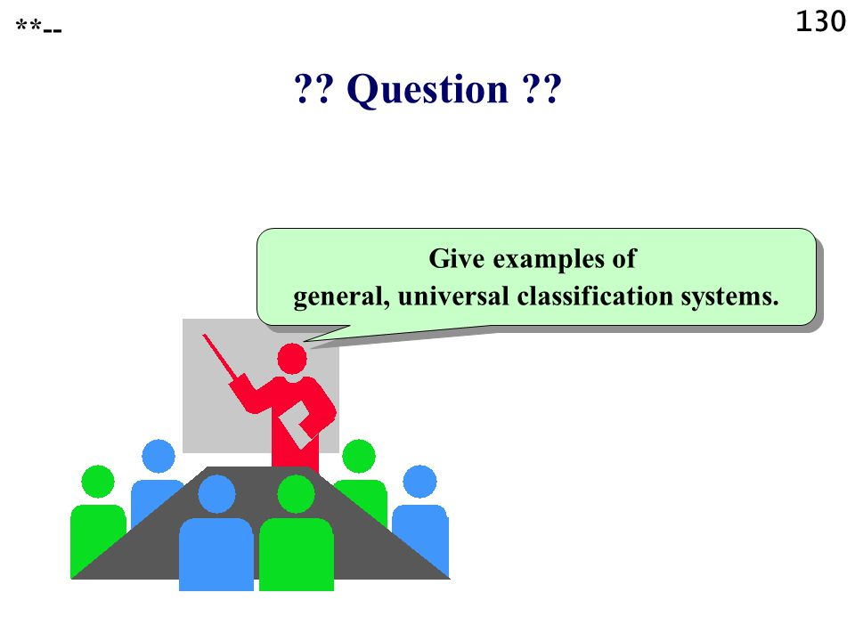 Question Give examples of general, universal classification systems. **-- 130