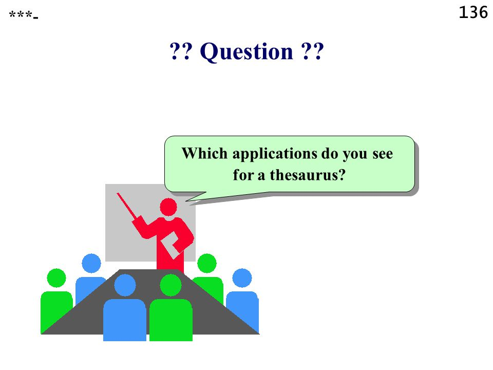 Question Which applications do you see for a thesaurus ***- 136