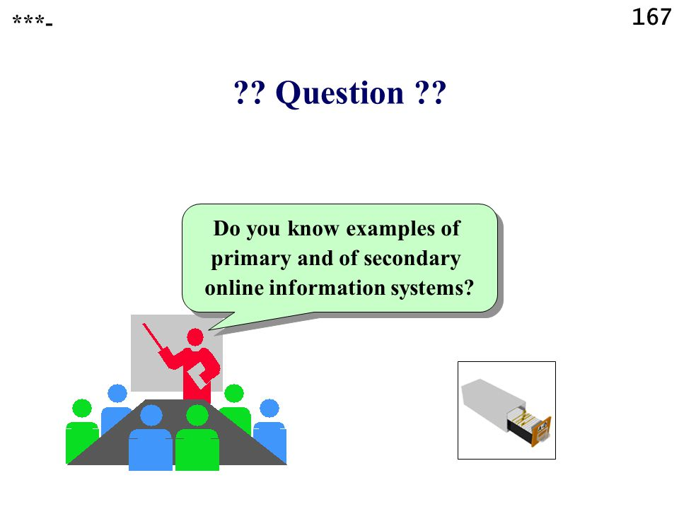 167 . Question . Do you know examples of primary and of secondary online information systems.