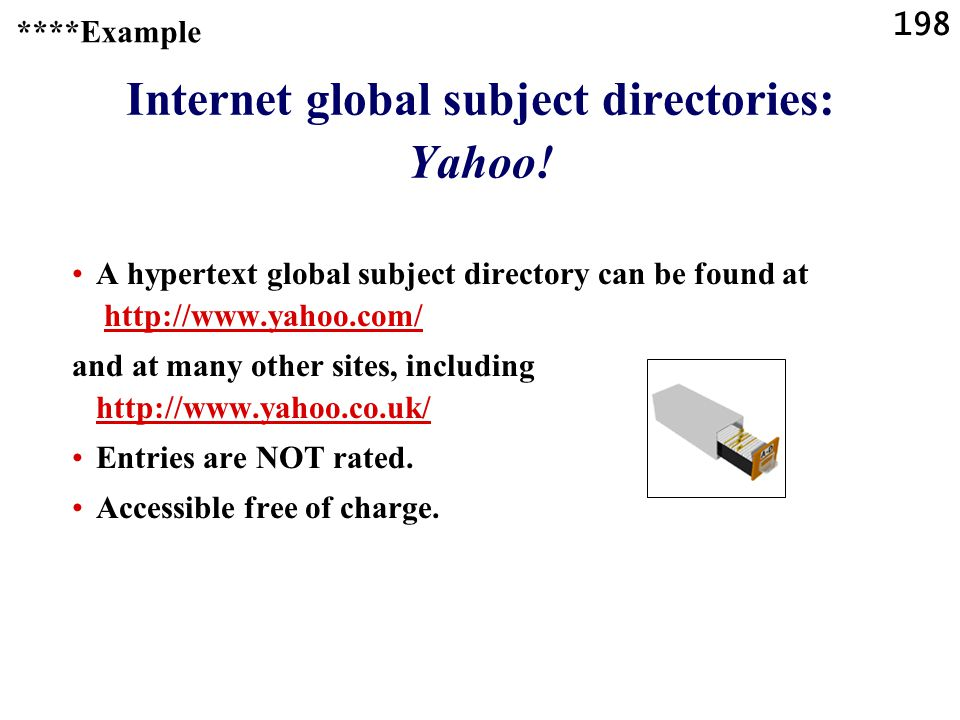 198 Internet global subject directories: Yahoo.