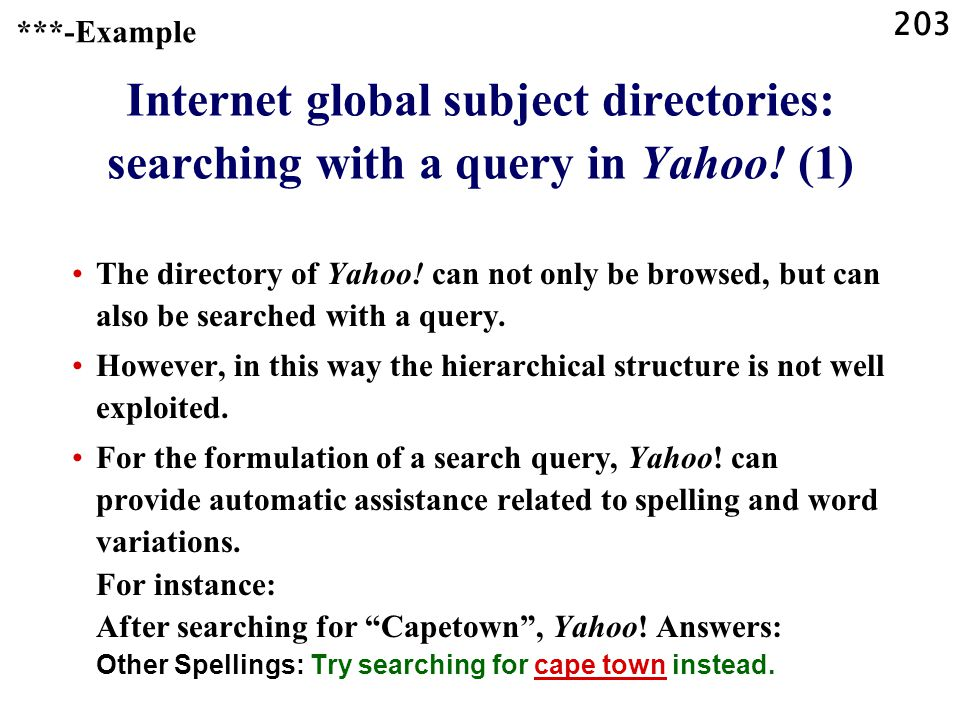 203 Internet global subject directories: searching with a query in Yahoo.