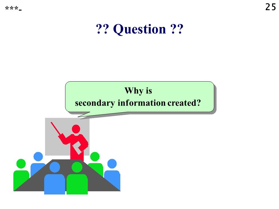 Question Why is secondary information created ***- 25