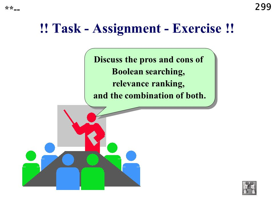 299 !. Task - Assignment - Exercise !.