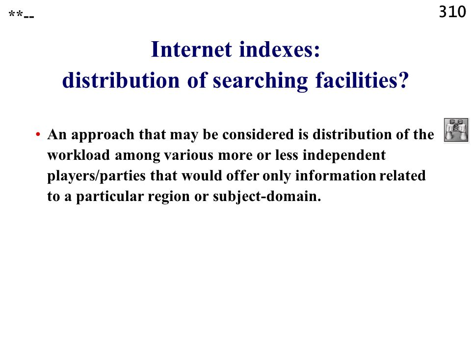 310 Internet indexes: distribution of searching facilities.