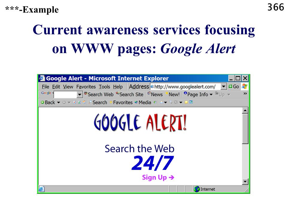 366 Current awareness services focusing on WWW pages: Google Alert ***-Example