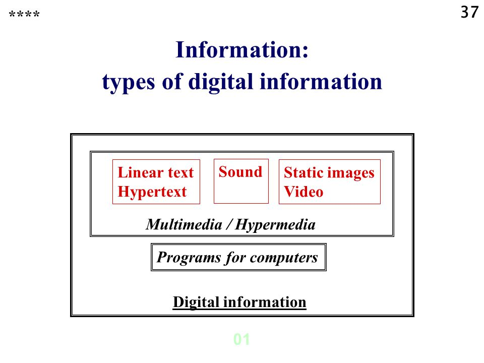37 01 Digital information Multimedia / Hypermedia Information: types of digital information Linear text Hypertext Static images Video Sound Programs for computers ****